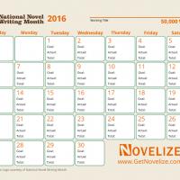 NaNoWriMo Calendar for 2016